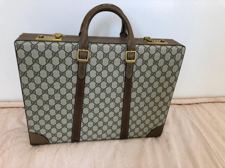Gray Gucci Vintage Brown GG Monogram Canvas Business Attache Hard Side Briefcase For Sale