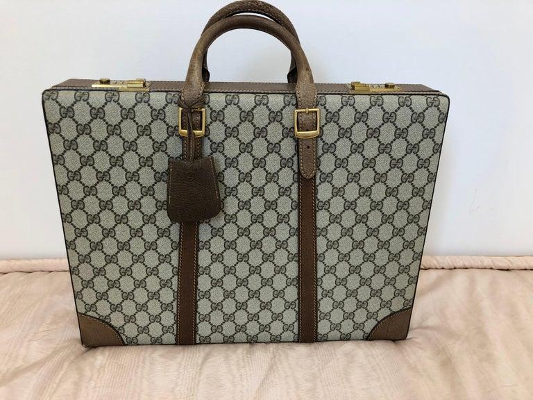 Gucci Vintage Brown GG Monogram Canvas Business Attache Hard Side Briefcase For Sale 1