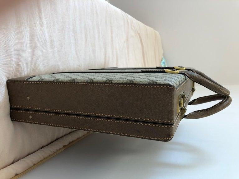 Gucci Vintage Brown GG Monogram Canvas Business Attache Hard Side Briefcase For Sale 4