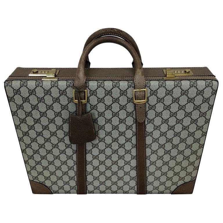 Gucci Vintage Brown GG Monogram Canvas Business Attache Hard Side Briefcase For Sale