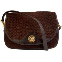 Gucci Vintage Brown GG Monogram Suede Shoulder or Messenger Bag