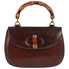 Gucci Vintage Brown Leather Bamboo Top Handle Bag