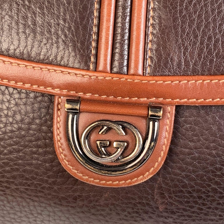 Black Gucci Vintage Brown Leather Convertible Crossbody Bag For Sale