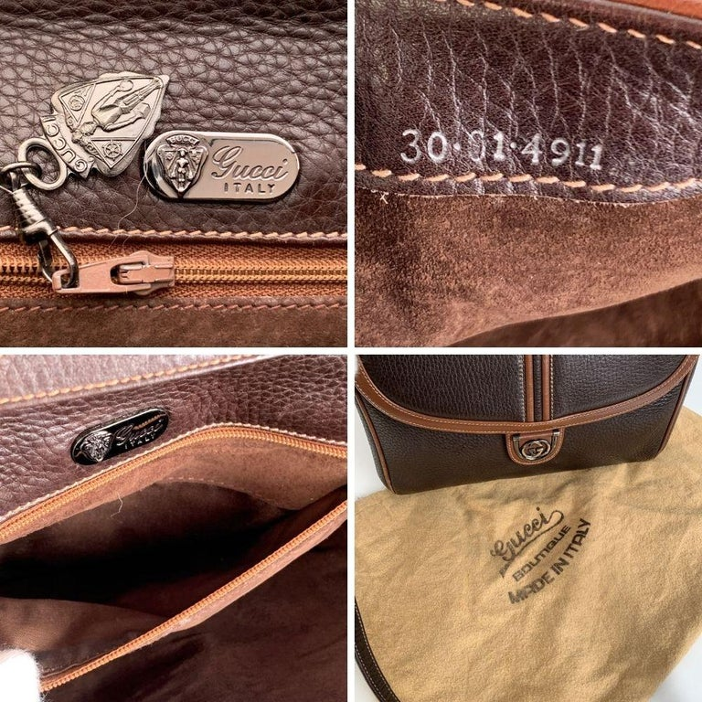 Gucci Vintage Brown Leather Convertible Crossbody Bag For Sale 2