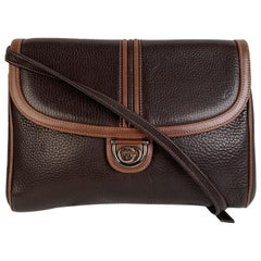 Gucci Vintage Brown Leather Convertible Crossbody Bag