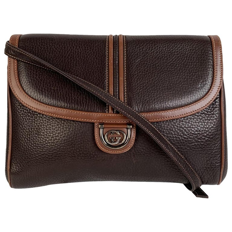 Gucci Vintage Brown Leather Convertible Crossbody Bag For Sale
