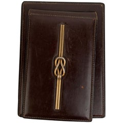Gucci Vintage Brown Leather Gold Knot Desk Notebook Holder