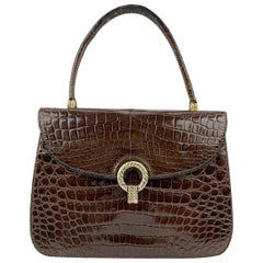 Gucci Vintage Brown Leather Handbag Top Handle Flap Bag