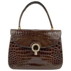 Gucci Vintage Brown Leather Handbag Top Handle Flap Bag