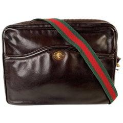 Gucci Vintage Brown Leather Horsebit Shoulder Bag