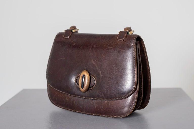 Gucci Vintage Brown Leather Italian  Handbag 1940 For Sale 5