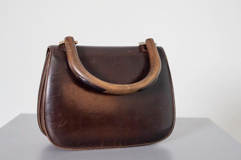Gucci Vintage Brown Leather Italian  Handbag 1940 For Sale 8