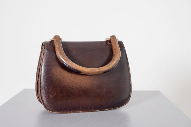 Gucci Vintage Brown Leather Italian  Handbag 1940 For Sale 9