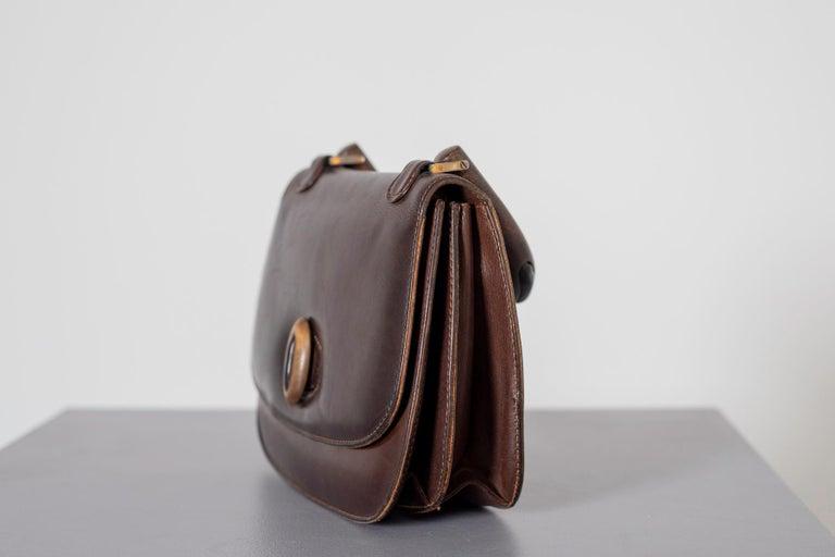 Gucci Vintage Brown Leather Italian  Handbag 1940 For Sale 10