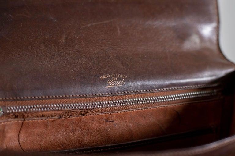Gucci Vintage Brown Leather Italian  Handbag 1940 For Sale 11