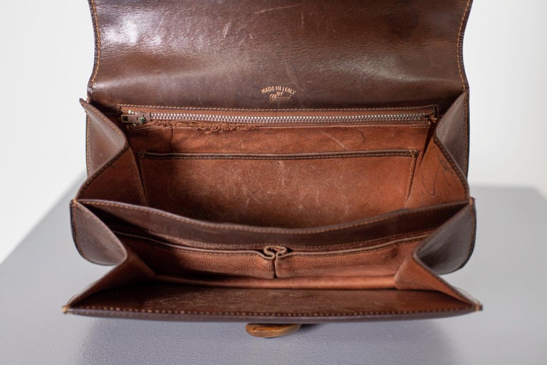 Gucci Vintage Brown Leather Italian  Handbag 1940 For Sale 12