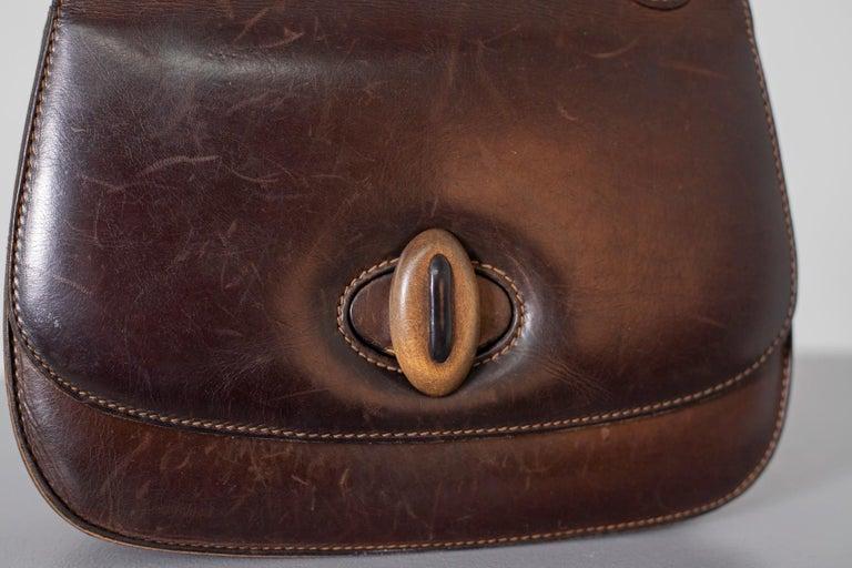 Gucci Vintage Brown Leather Italian  Handbag 1940 For Sale 13