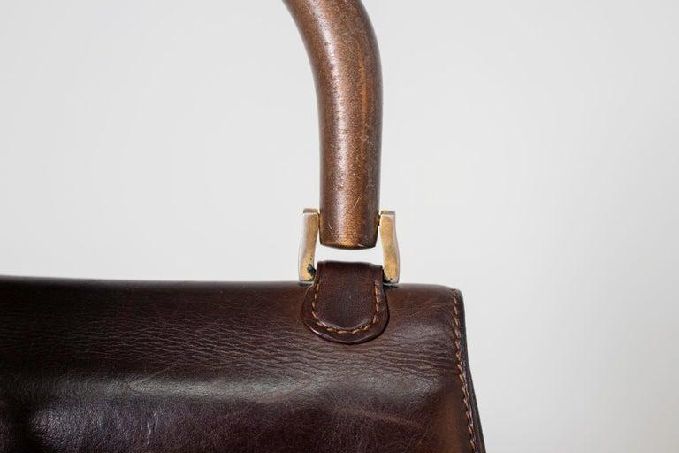 Gucci Vintage Brown Leather Italian  Handbag 1940 For Sale 14