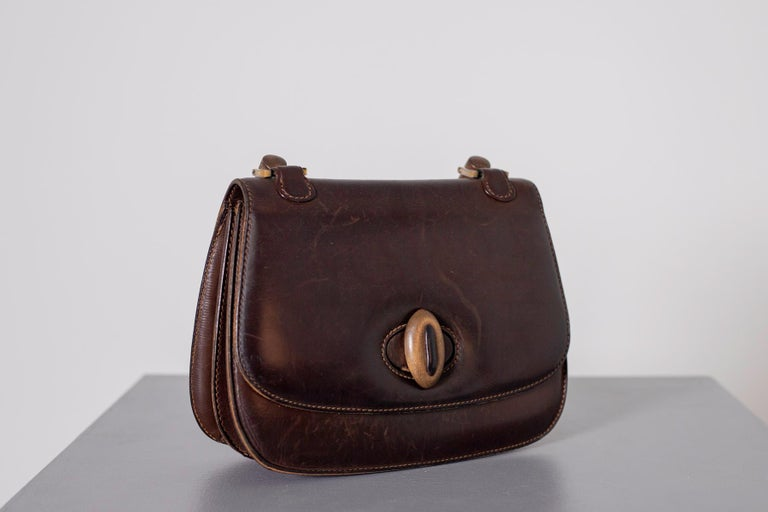 Black Gucci Vintage Brown Leather Italian  Handbag 1940 For Sale