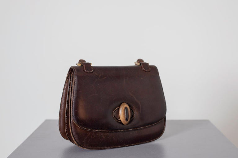 Gucci Vintage Brown Leather Italian  Handbag 1940 In Good Condition For Sale In milano, IT