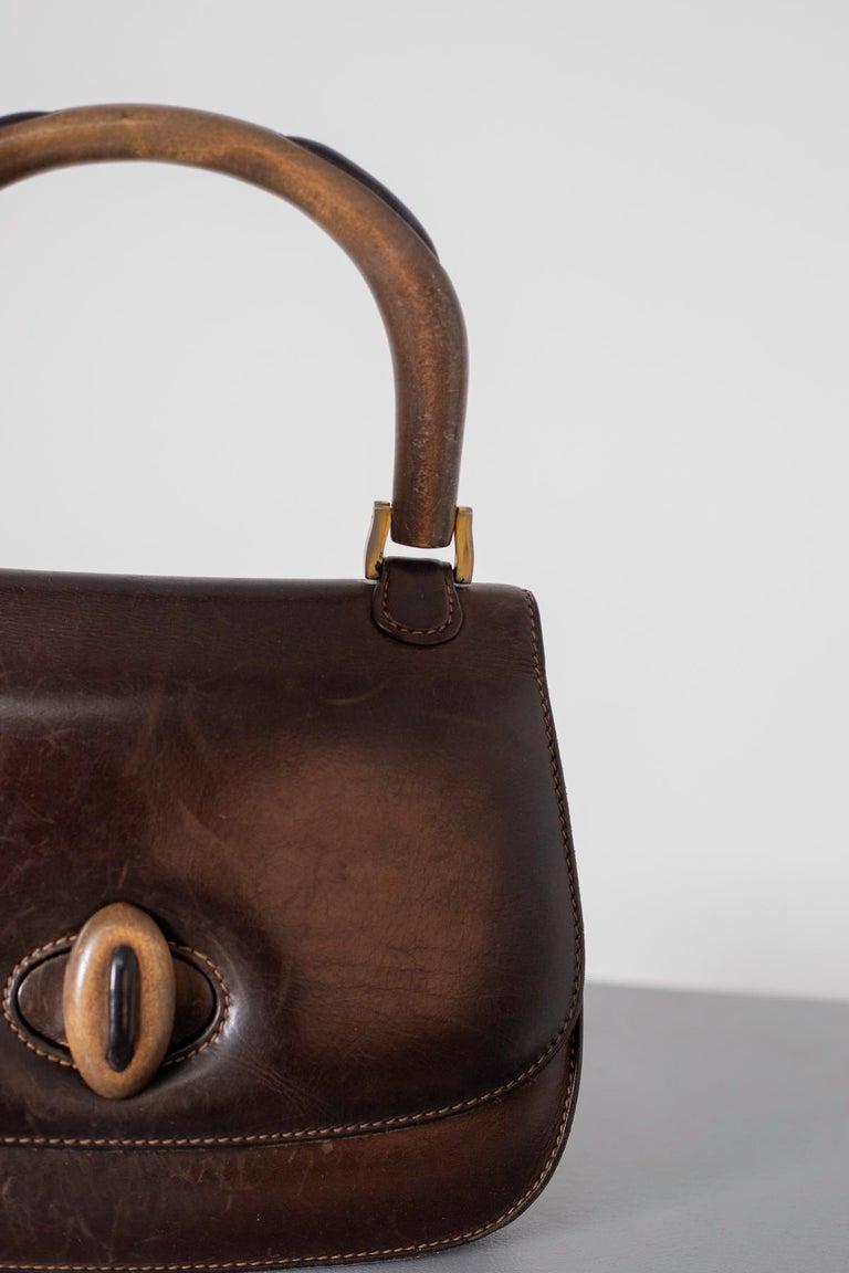 Gucci Vintage Brown Leather Italian  Handbag 1940 For Sale 2