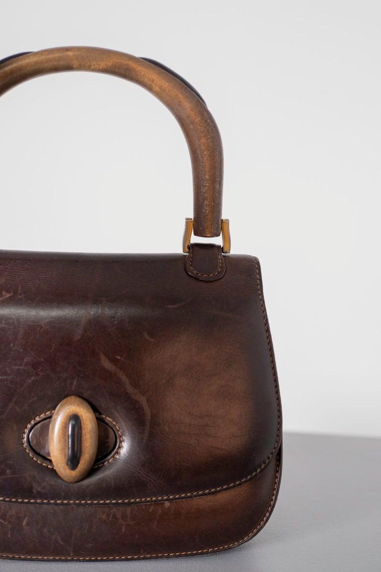 Gucci Vintage Brown Leather Italian  Handbag 1940 For Sale 3