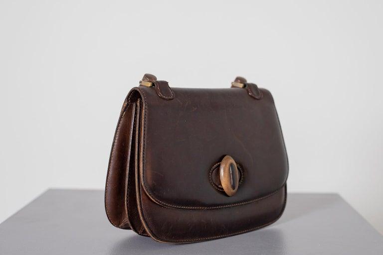 Gucci Vintage Brown Leather Italian  Handbag 1940 For Sale 4