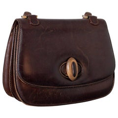Gucci Vintage Brown Leather Italian  Handbag 1940
