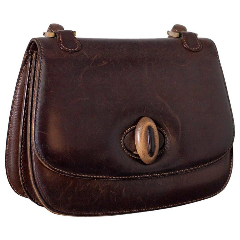 Gucci Vintage Brown Leather Italian  Handbag 1940 For Sale