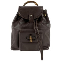 Gucci Vintage Brown Leather Small Bamboo Backpack Shoulder Bag