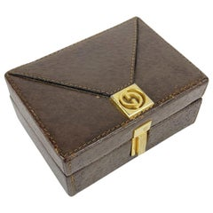 Gucci Vintage Brown Leather Small Jewelry Trinket Box