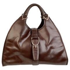 Gucci Vintage Brown Leather Stirrup Hobo Bag Handbag