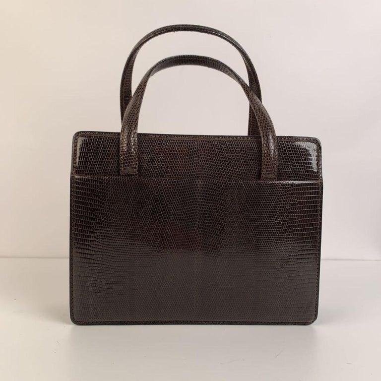 Black Gucci Vintage Brown Leather Top Handle Bag Handbag For Sale