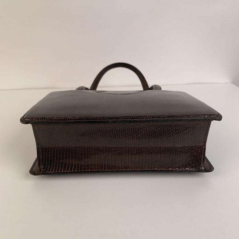 Gucci Vintage Brown Leather Top Handle Bag Handbag In Excellent Condition For Sale In Rome, Rome