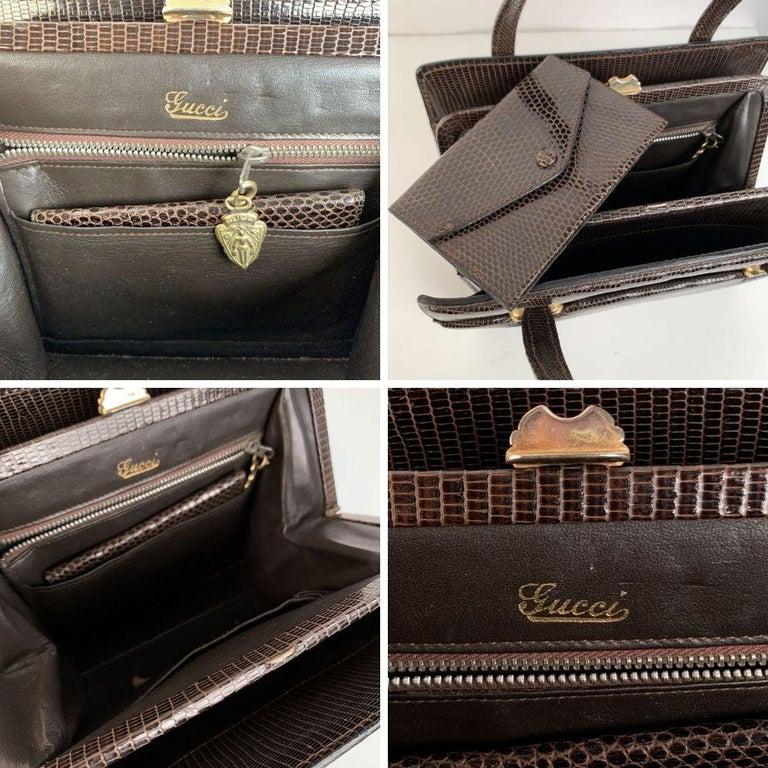Women's Gucci Vintage Brown Leather Top Handle Bag Handbag For Sale
