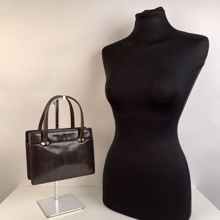 Gucci Vintage Brown Leather Top Handle Bag Handbag For Sale 1