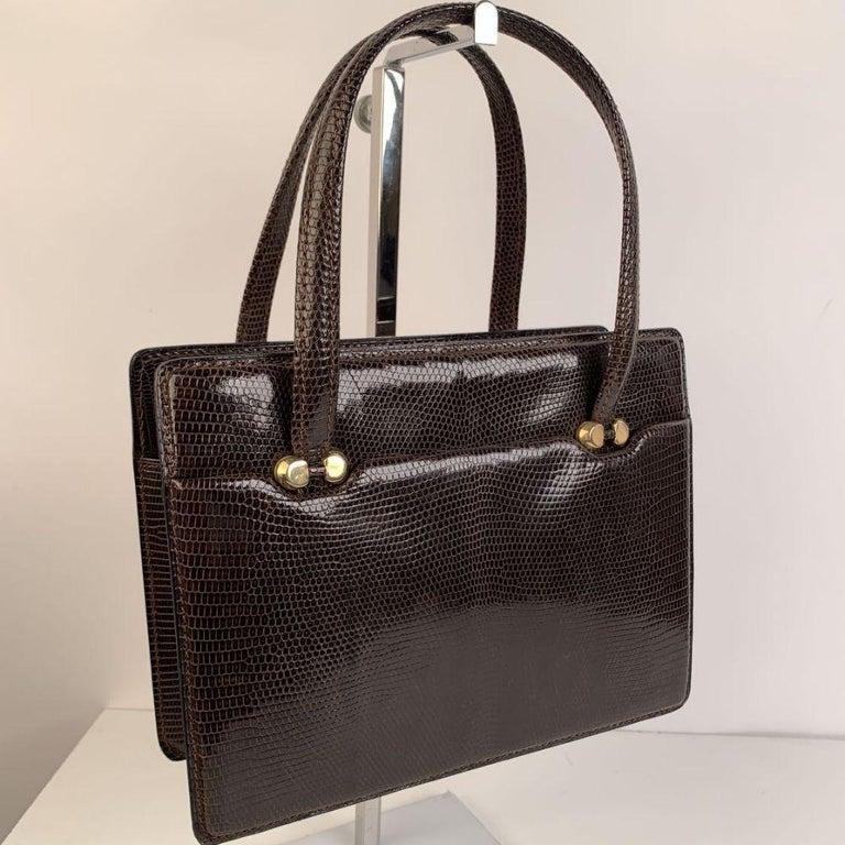 Gucci Vintage Brown Leather Top Handle Bag Handbag For Sale 2