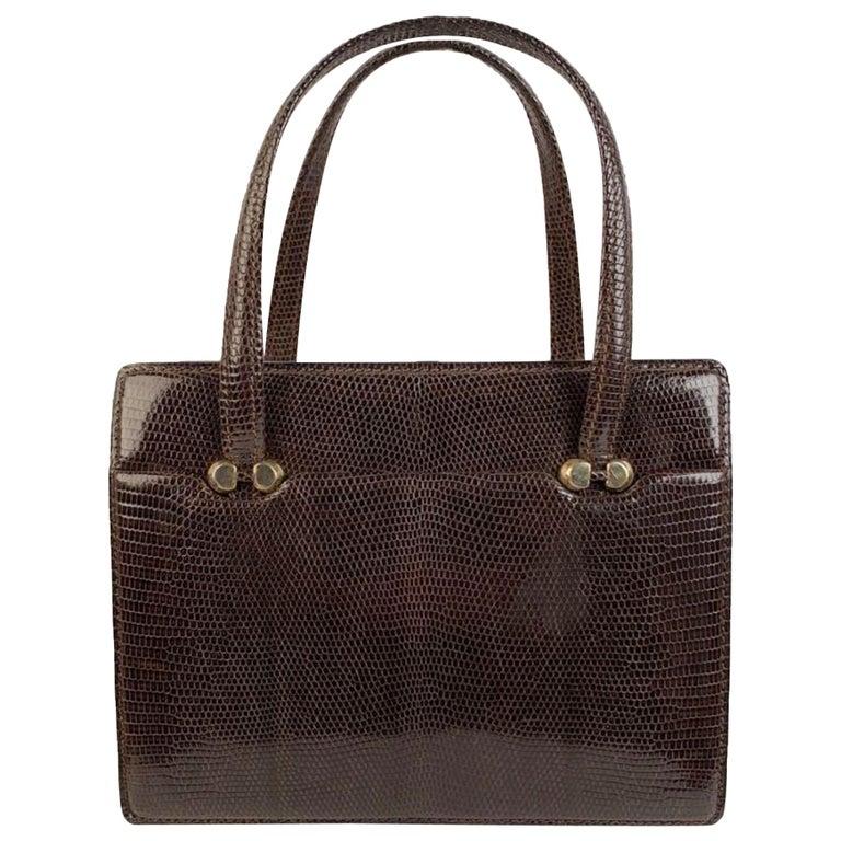 Gucci Vintage Brown Leather Top Handle Bag Handbag For Sale
