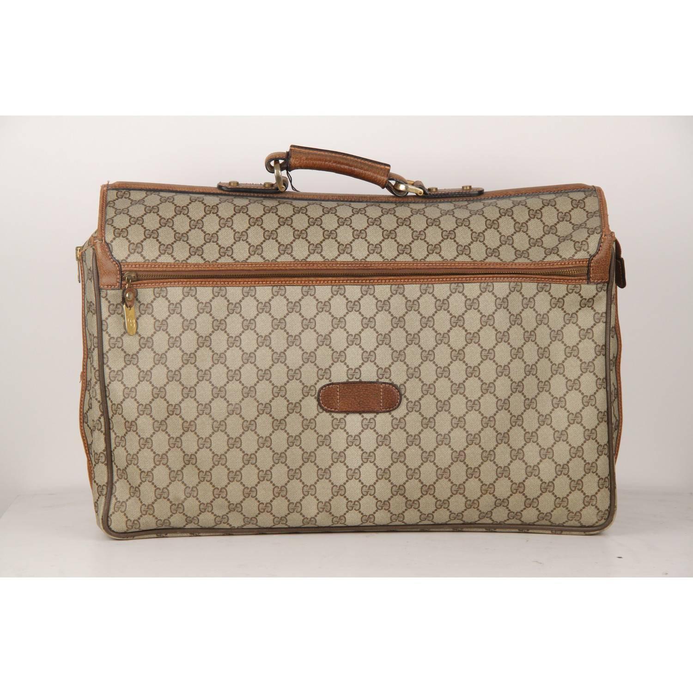 Gucci Vintage Brown Monogram 48h Travel Weekender Bag Briefcase For At 1stdibs