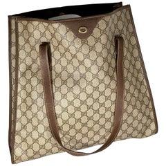 Gucci  Vintage Brown Shopper Supreme GG Monogram Canvas Large Tote Shoulder Bag