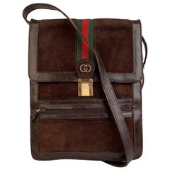 Gucci Vintage Brown Suede Crossbody Bags Men Purse with Stripes