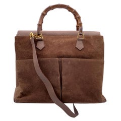 Gucci Vintage Brown Suede Front Pockets Bamboo Tote Bag