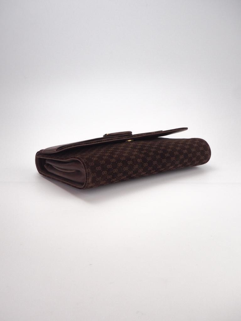 Black Gucci Vintage Brown Suede Interlocking GG Clutch For Sale
