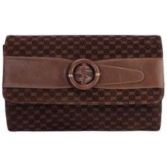 Gucci Vintage Brown Suede Interlocking GG Clutch