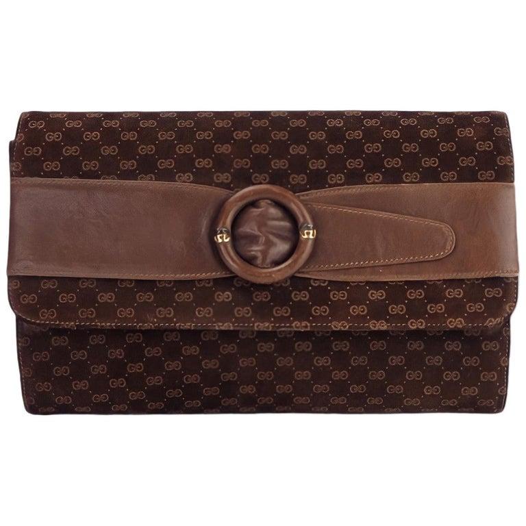 Gucci Vintage Brown Suede Interlocking GG Clutch For Sale