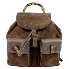 Gucci Vintage Brown Suede Leather Bamboo Backpack Bag