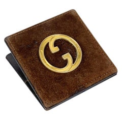 Gucci Vintage Brown Suede Leather Paper Clip with GG Logo