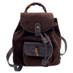 Gucci Vintage Brown Suede Small Bamboo Backpack Shoulder Bag