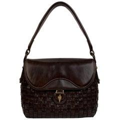 Gucci Vintage Brown Woven Leather Rare Handbag Top Handle Bag