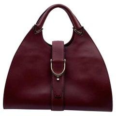 Gucci Vintage Burgundy Leather Stirrup Hobo Bag Handbag
